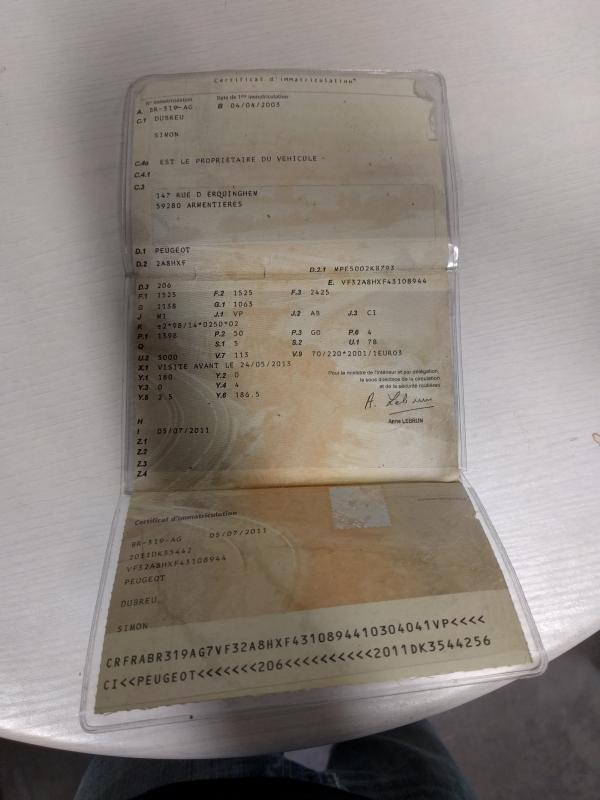 OCR Carte grise